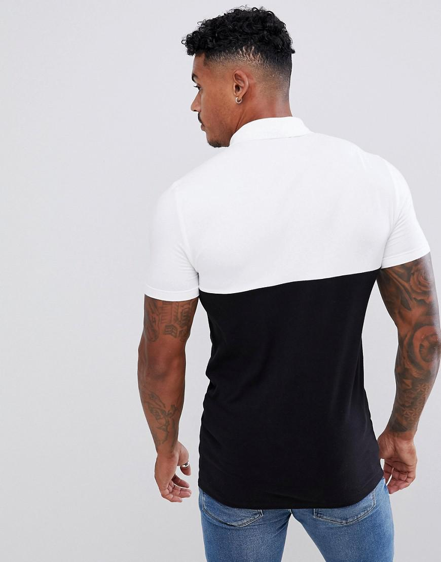 df72685e ASOS Muscle Fit Polo Shirt With Contrast Yoke In Black in Black for Men -  Lyst