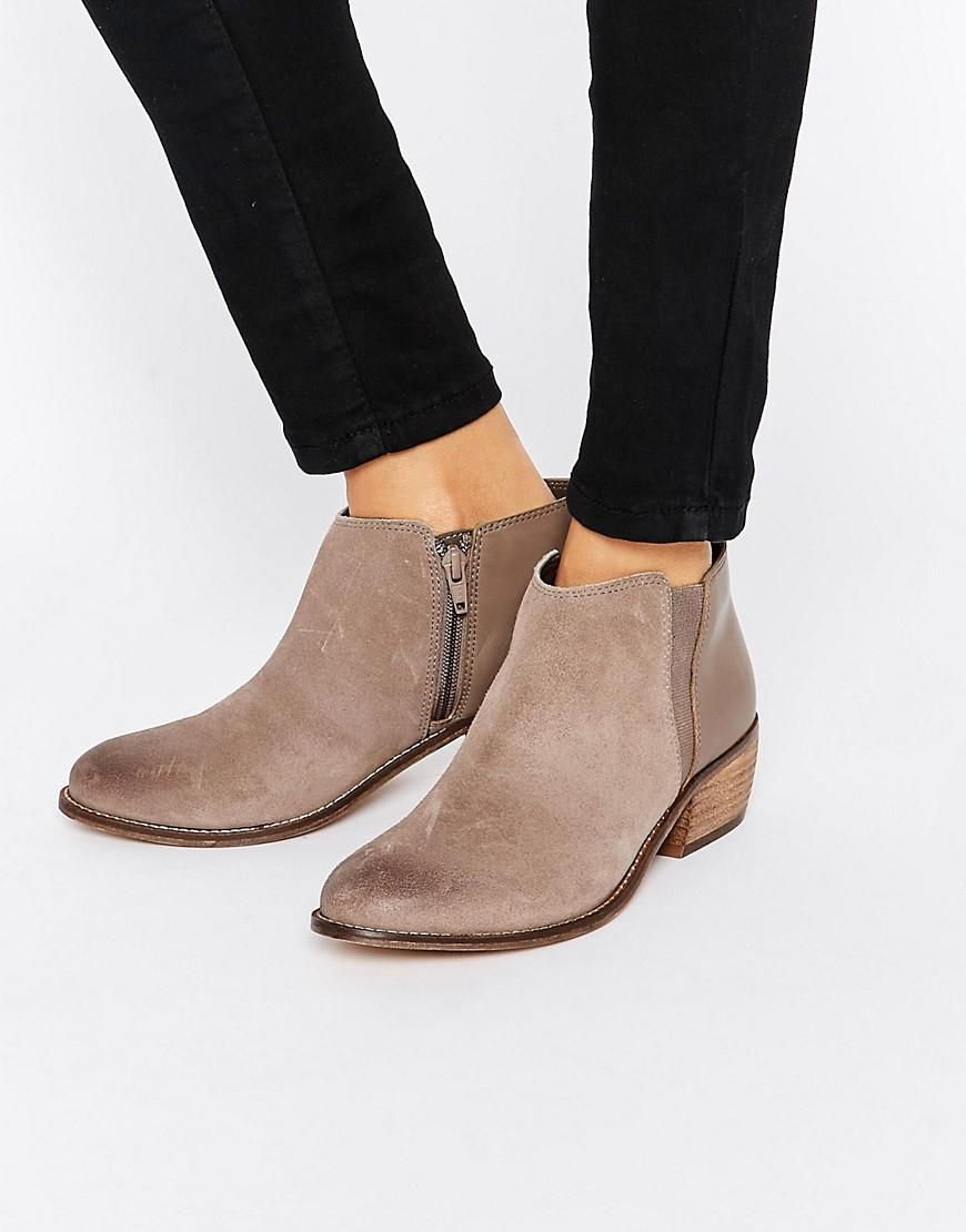 ecf47ecd15572b Lyst - Dune Penelope Grey Suede Ankle Boot in Brown