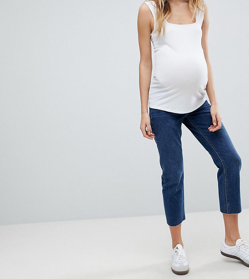 ASOS DESIGN Maternity barrell leg boyfriend jeans in washed black with knee rips with over the bump waistband - Washed black Asos Maternity Zv44OmKuI