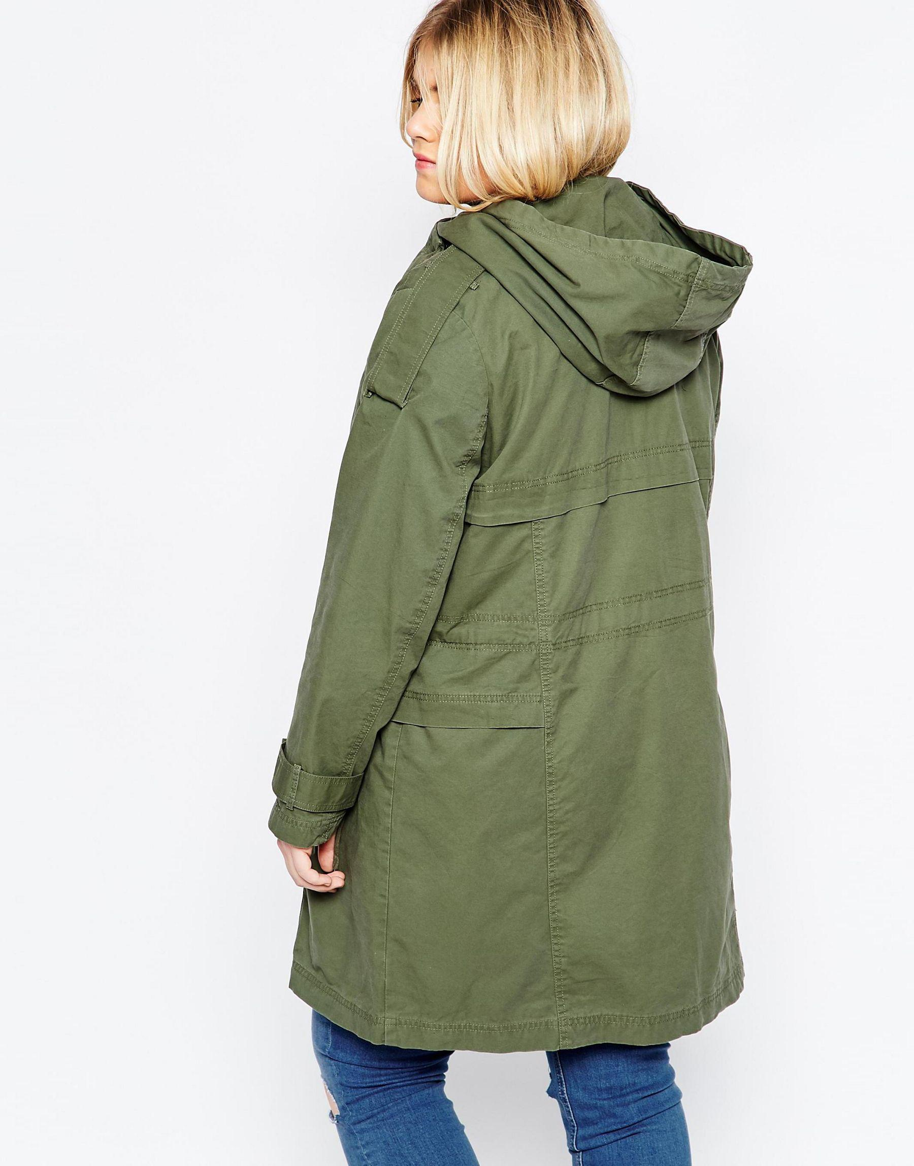 f9080bd768331 Lyst - ASOS Curve Parka With Waterfall And Storm Flap in Green