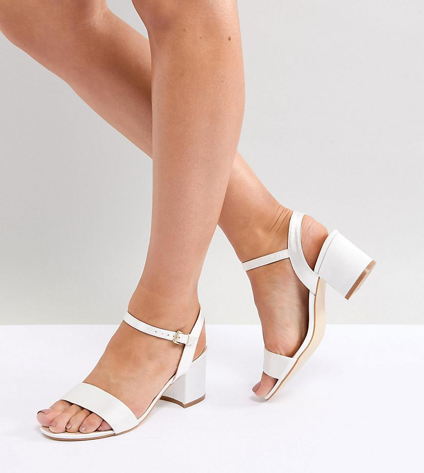 London Rebel Wide Fit Bridal Block Heeled Sandals