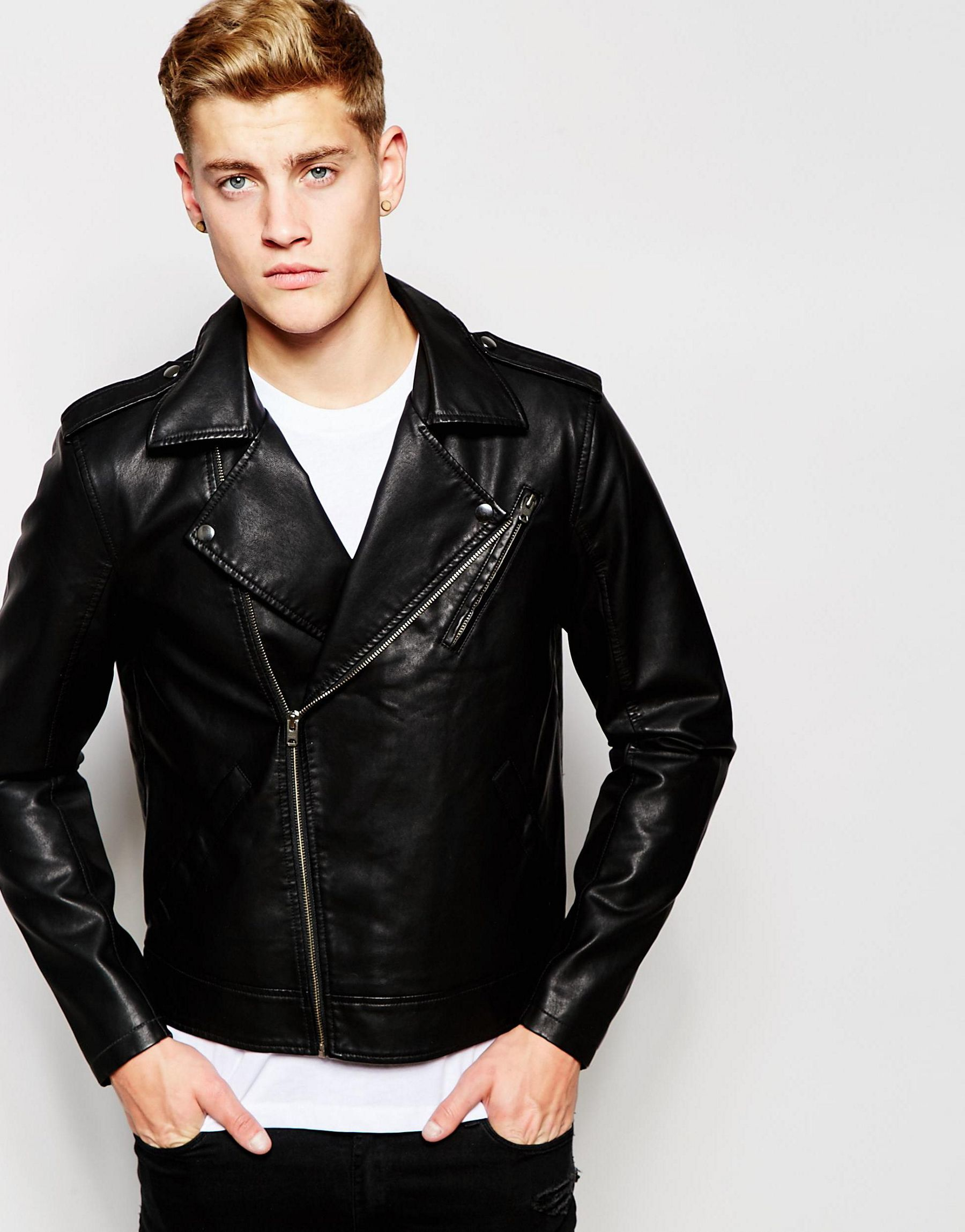 Mens leather jackets clearance