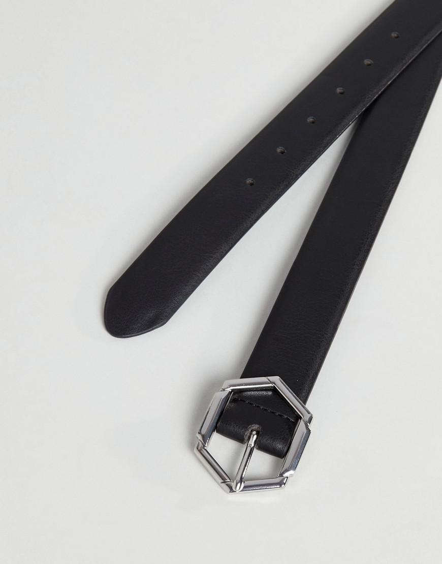 00a2667410f ASOS Smart Slim Faux Leather Belt In Black With Hexagon Buckle in ...