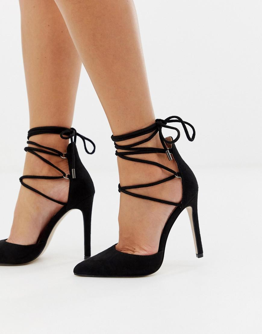 0ffd55ce97c Lyst - Public Desire Classy Black Tie Up Heeled Shoes in Black