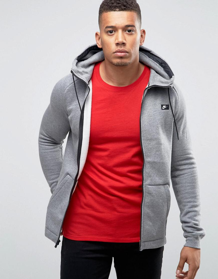 Nike. Men\u0027s Gray Modern Zip-up Hoodie ...