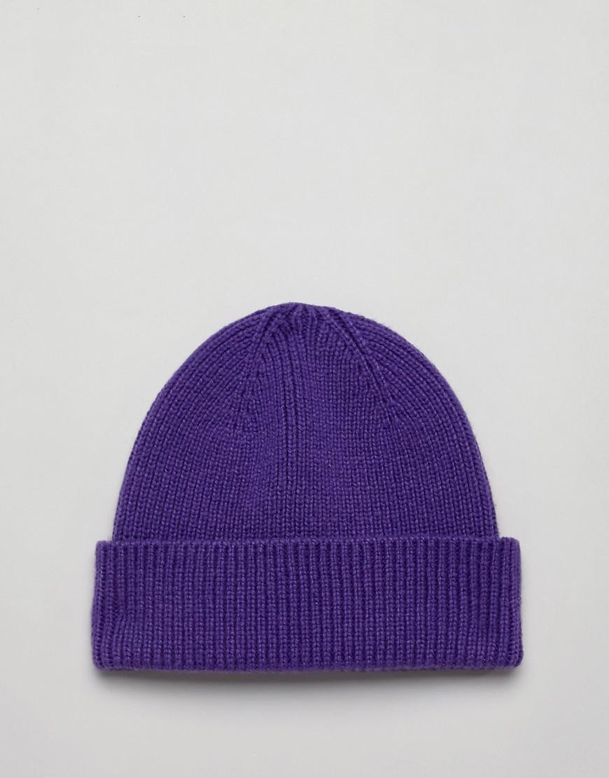Lyst - Asos Fisherman Beanie In Purple Recycled Polyester in Purple for Men 675c0d3c8
