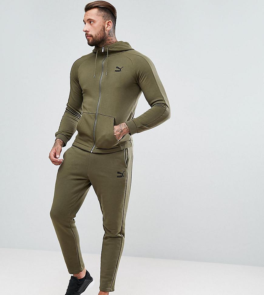 870869294d44 PUMA Skinny Fit Tracksuit Set In Khaki Exclusive At Asos in Green ...