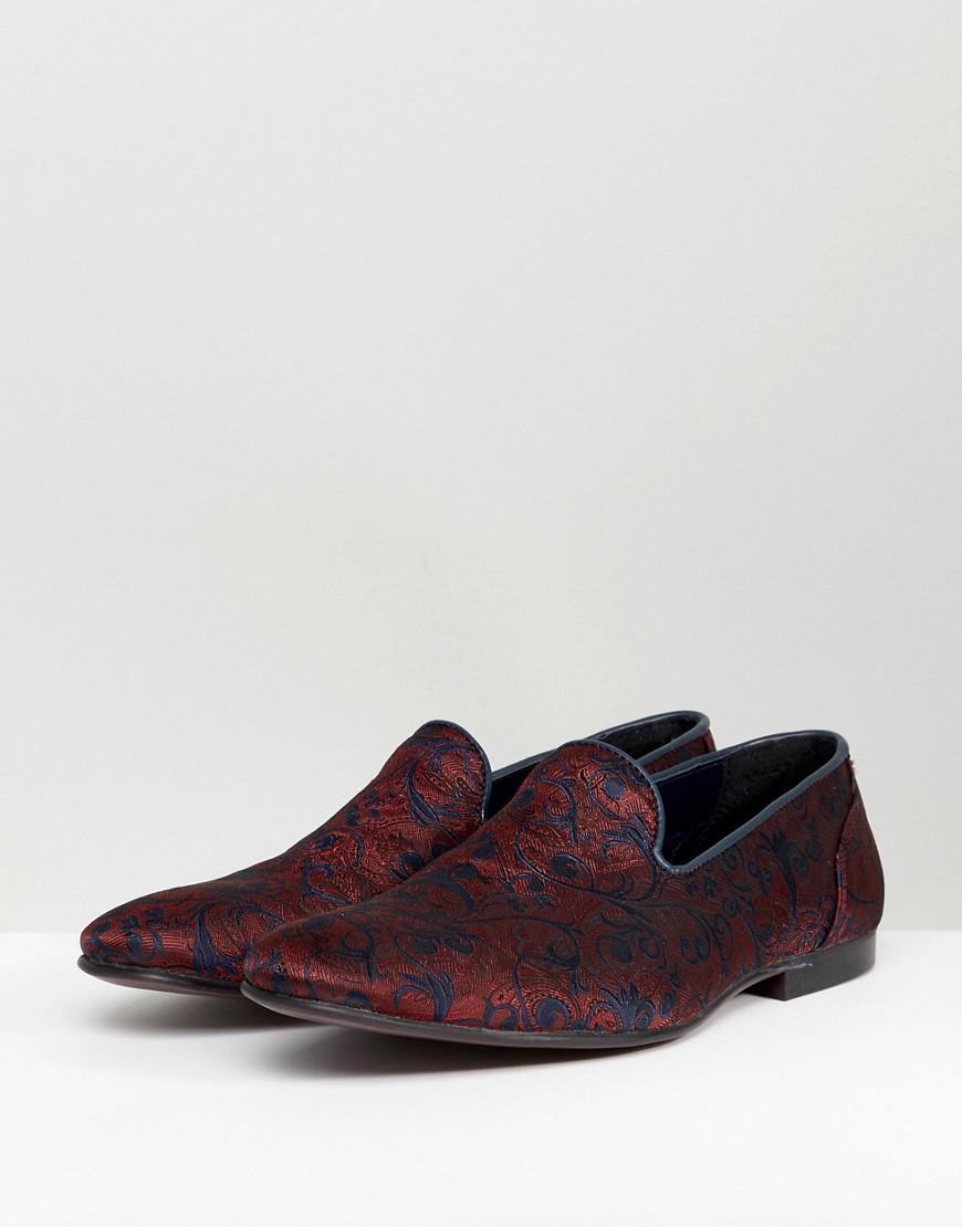 0b472528f22 Lyst - ASOS Loafers In Red And Blue Paisley Pattern in Red for Men