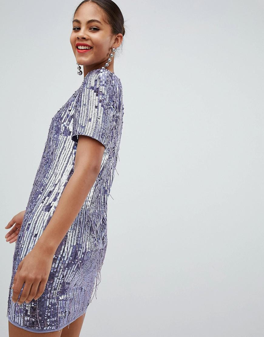 abe77d9f ASOS - Purple Asos Design Tall Mini Shift Dress In Heavily Embellished  Fringed Sequin - Lyst. View fullscreen