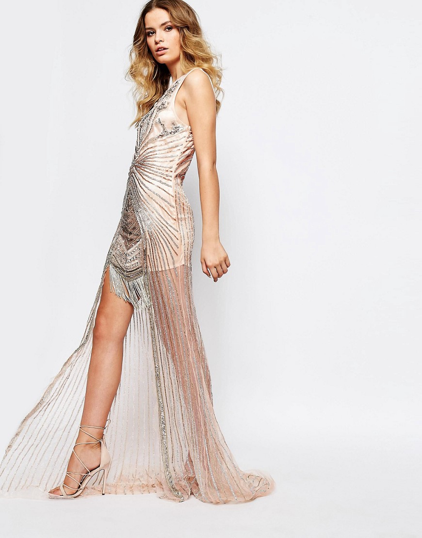 f0a4e4e15e5 A Star Is Born Embellished Crepe High-Low Maxi Dress in Metallic - Lyst