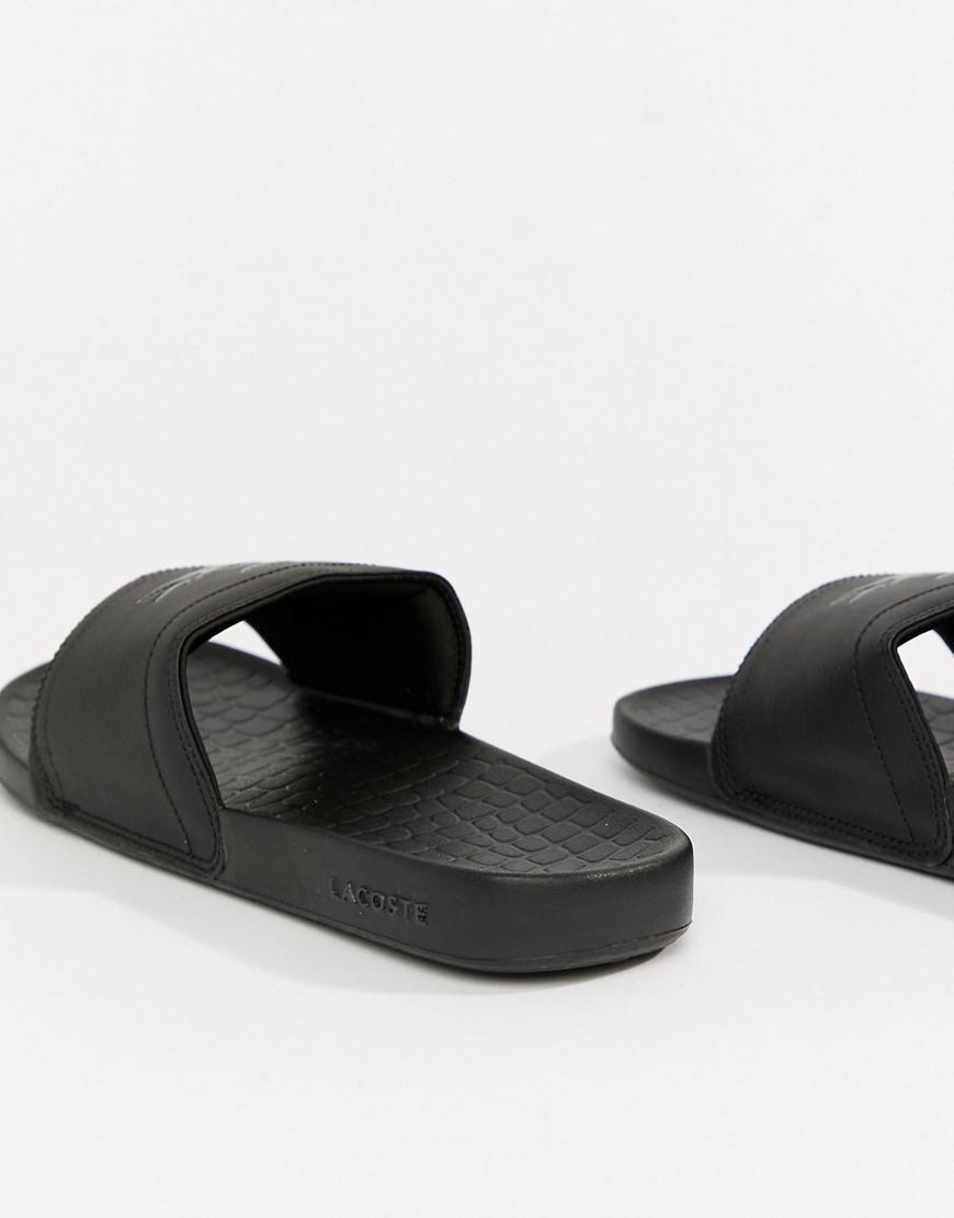 59e2b5f2b9d Lacoste Fraisier Croc Sliders In Black in Black for Men - Lyst