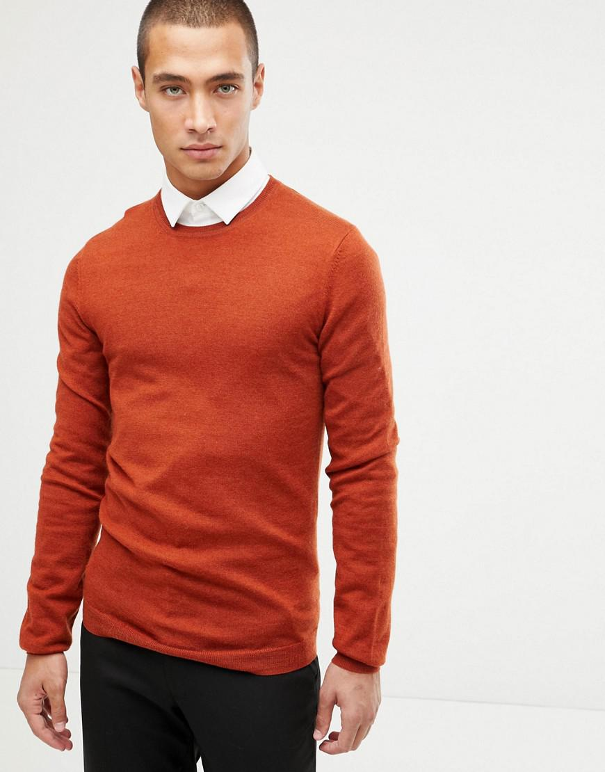 12d2c614 Lyst - ASOS Muscle Fit Merino Wool Jumper In Rust in Orange for Men ...