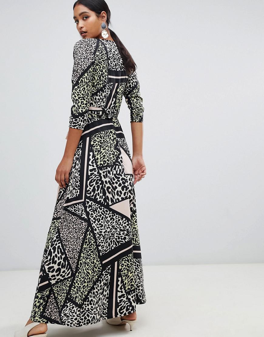 Lyst - Liquorish Leopard Animal Print Wrap Maxi Dress 4eae12af4