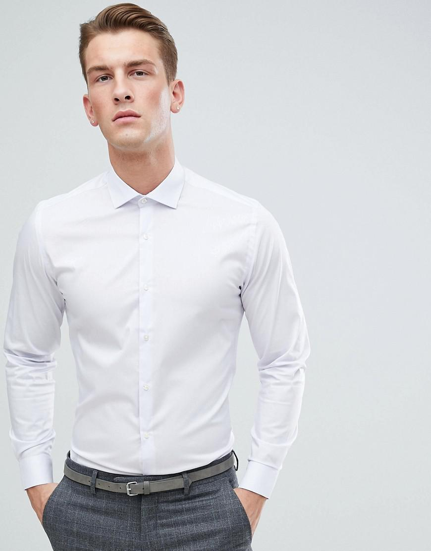 Moss London Extra Slim Revere Collar Shirt In White Print - White Moss Bros. Up To Date Outlet With Paypal Order Outlet Buy Free Shipping Cheap Real Clearance Store For Sale 56bO52