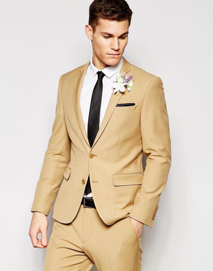 Asos Wedding Slim Suit Jacket In Camel in Brown for Men | Lyst