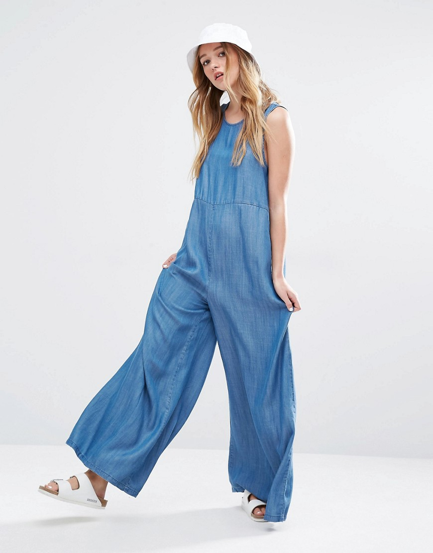 Native youth Wide Leg Denim Jumpsuit in Blue | Lyst