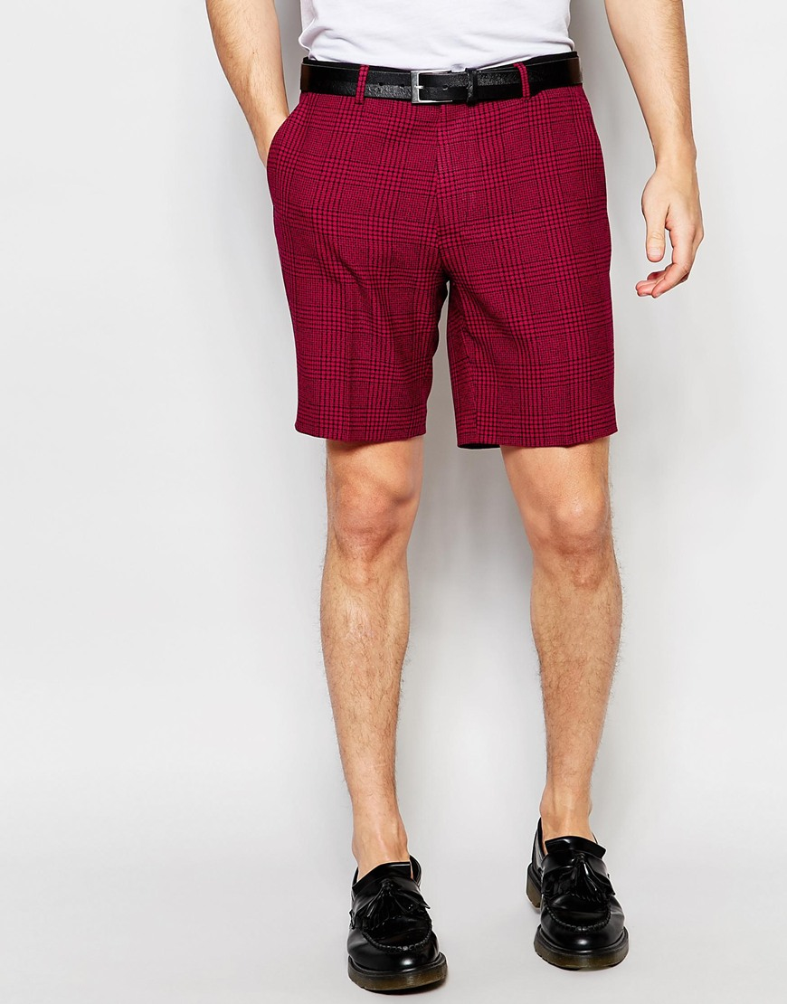 Asos Smart Skinny Shorts In Red Check in Green for Men | Lyst