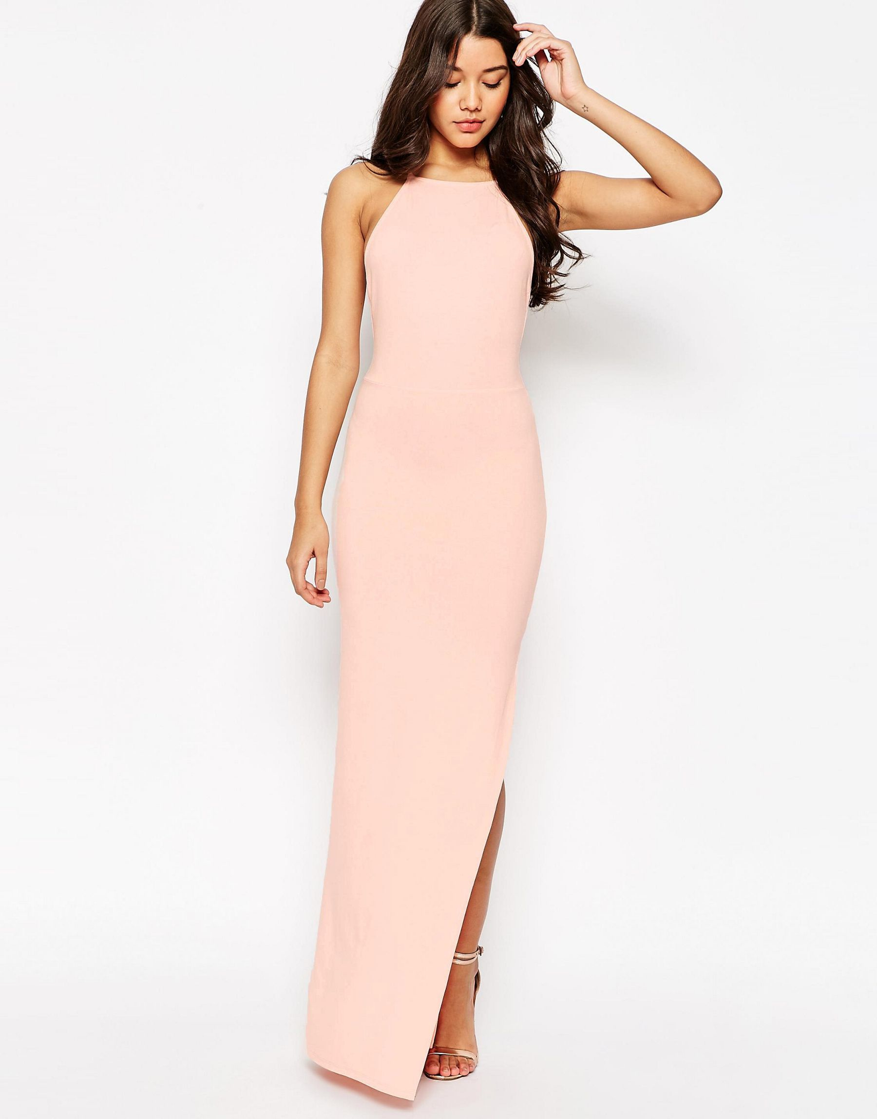 Lyst asos halter strappy back maxi dress in pink gallery ombrellifo Gallery