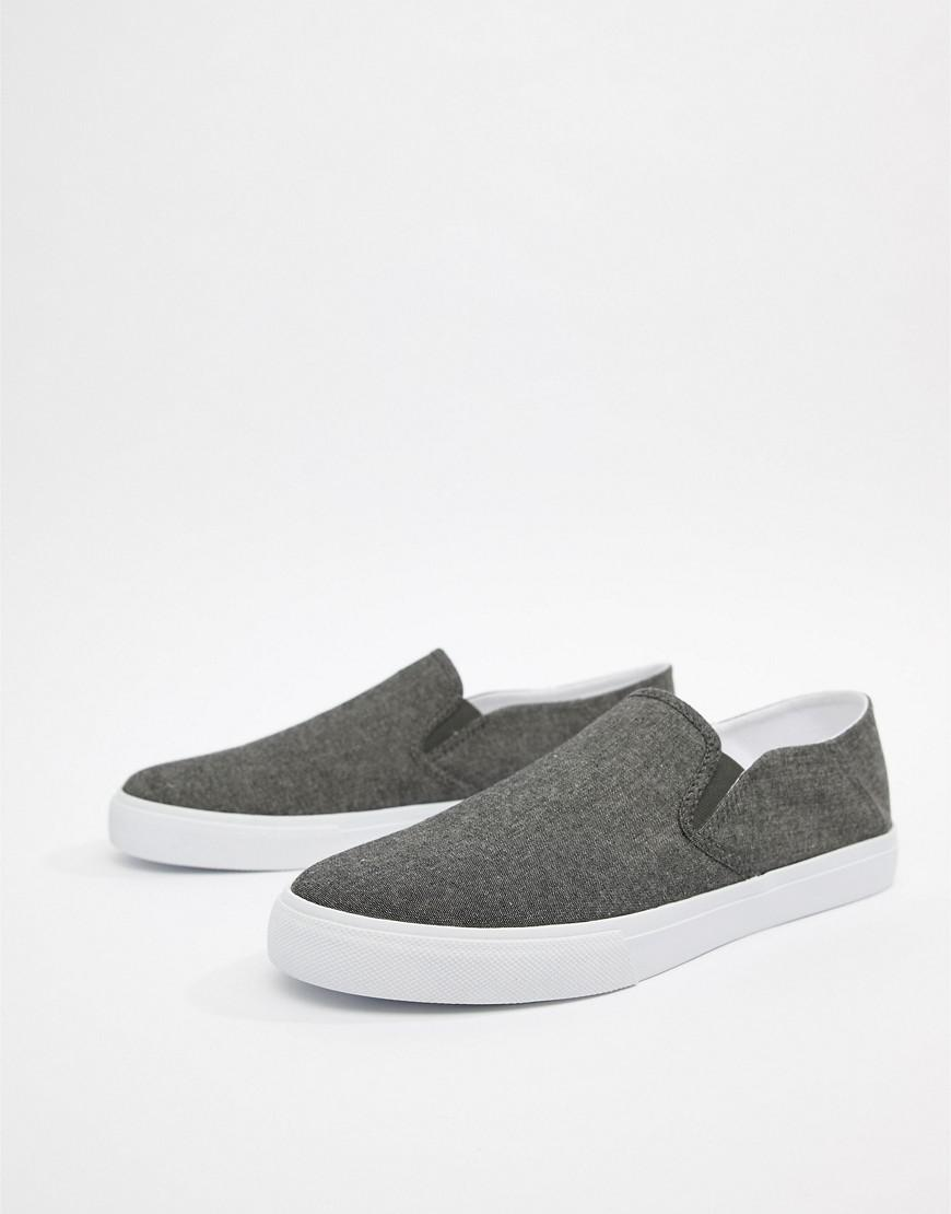 ASOS. Men's Design Slip On Plimsolls In Black Chambray ...
