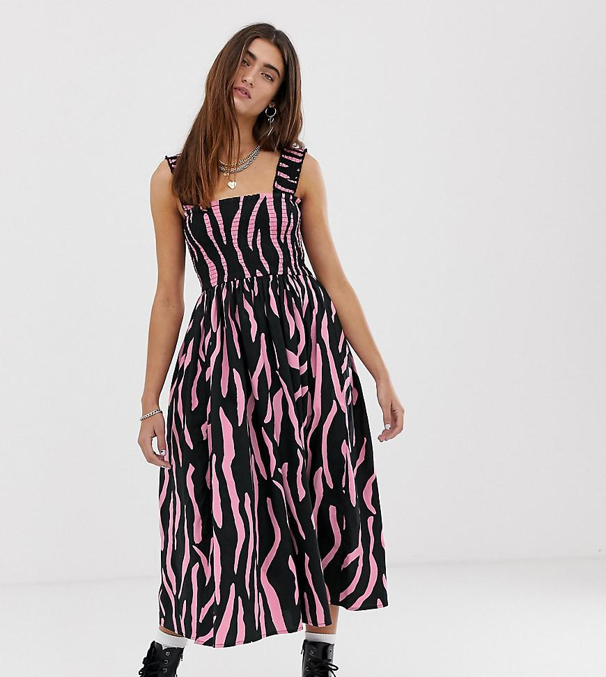 75176eed6a2370 Collusion Zebra Shirred Midi Dress - Lyst