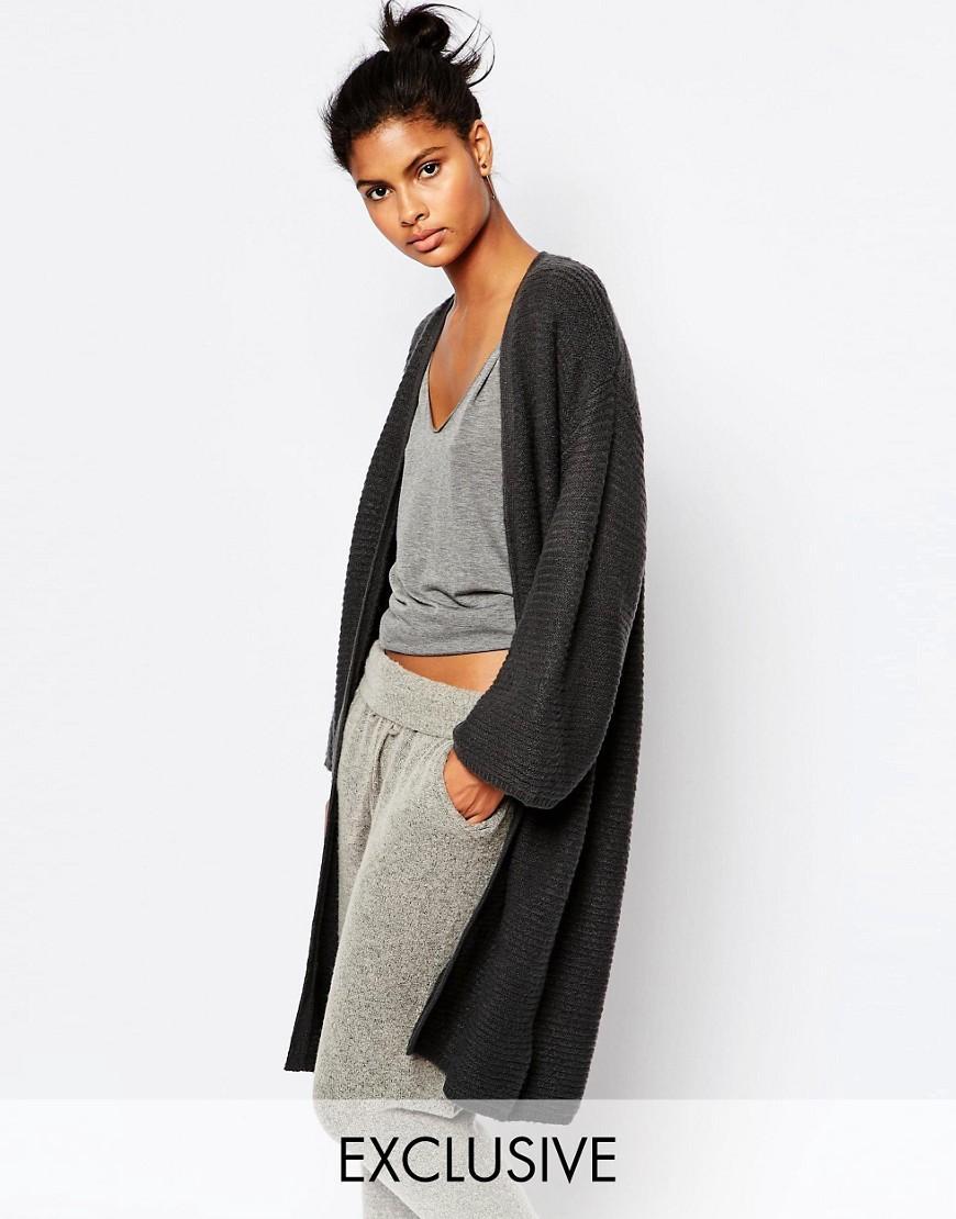 Micha lounge Kimono Sleeve Ribbed Cardigan in Gray | Lyst
