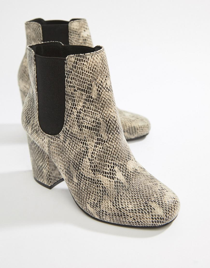 7f1e306fd42 Lyst - ASOS Wide Fit Bravo Chelsea Ankle Boots In Snake Print