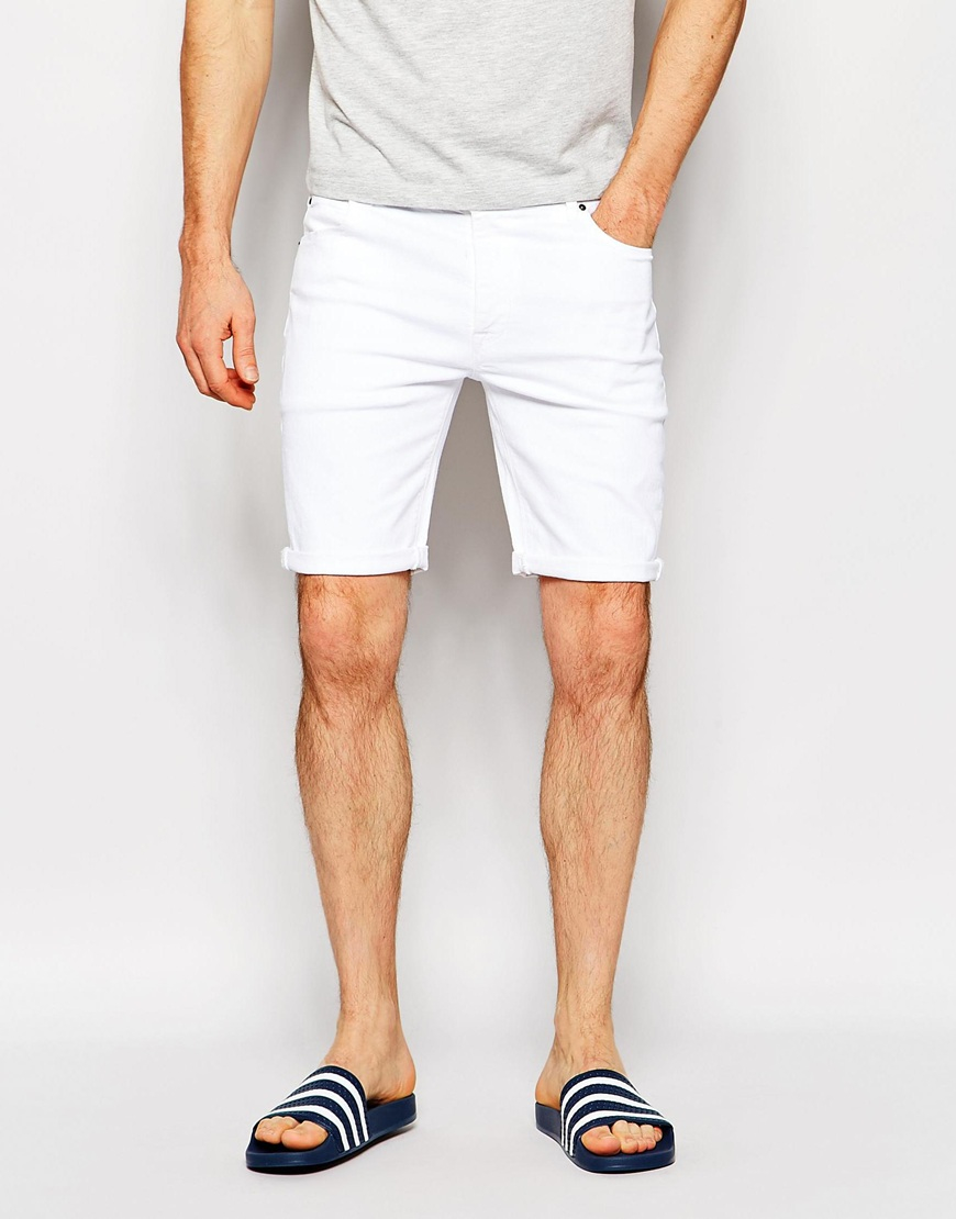 Asos Denim Shorts In Skinny White in White for Men | Lyst