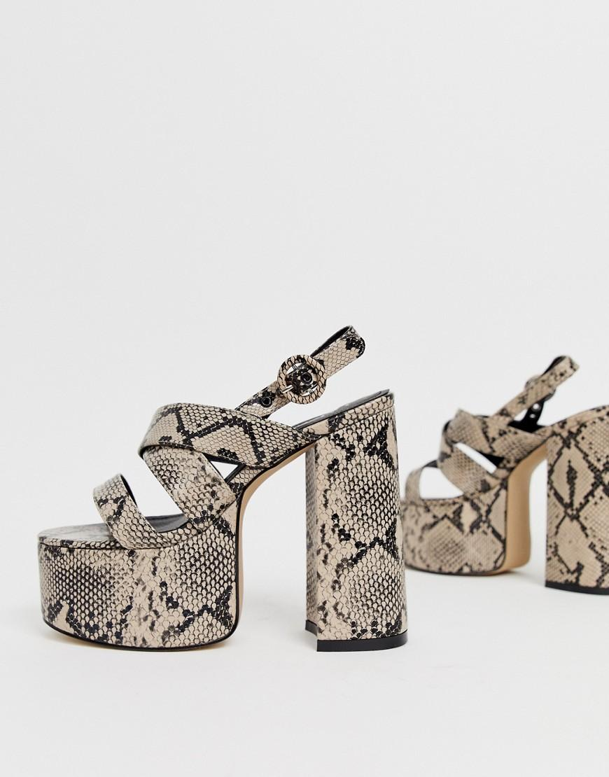 be10179e25b Lyst - LAMODA Natural Snake Chunky Platform Heeled Sandals in Natural