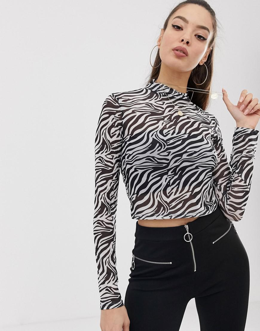 a2b0d66b9a7d82 ASOS. Women s Black High Neck Top In Zebra Print Sheer Mesh With Long Sleeve