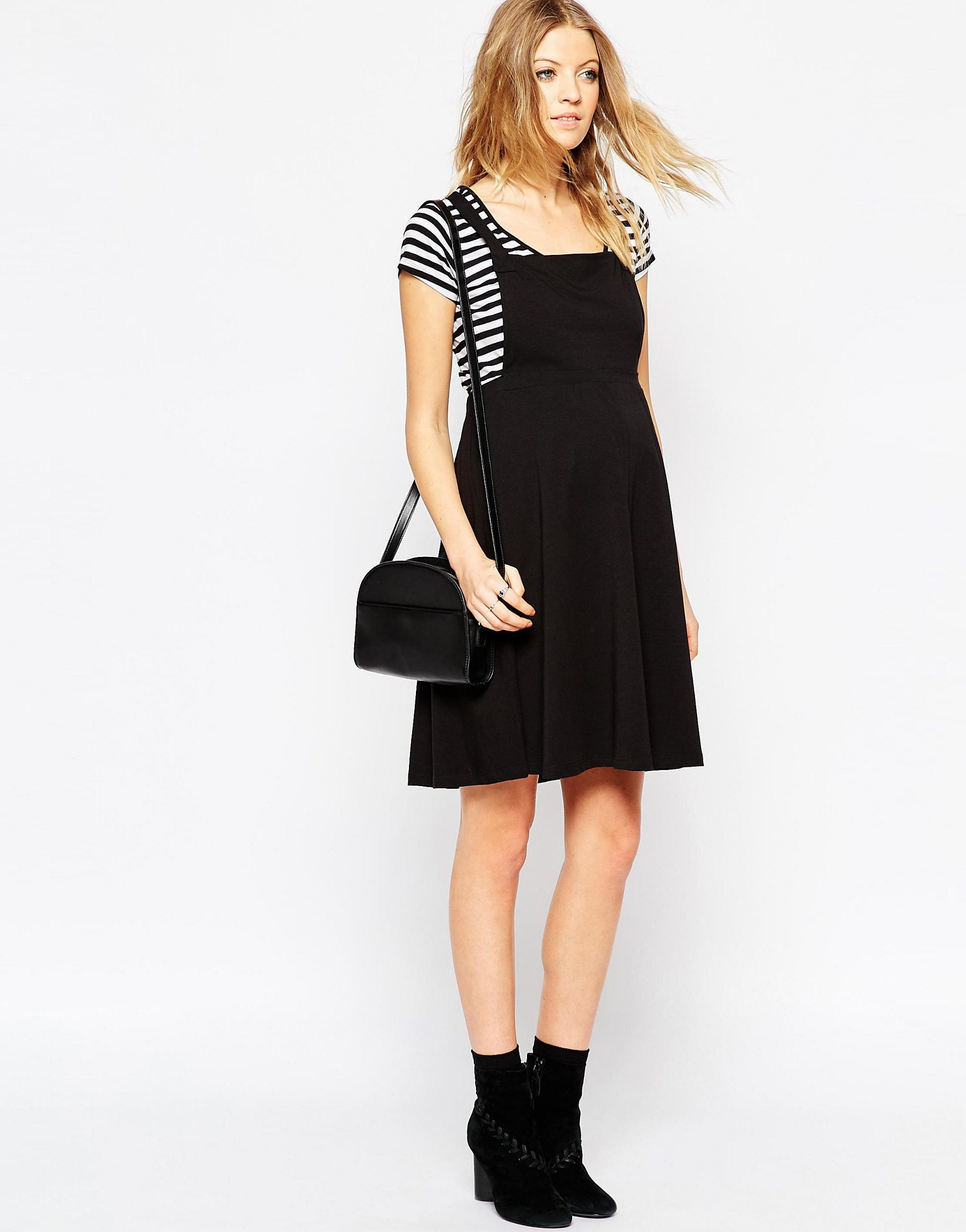 Asos maternity pinafore dress in black lyst gallery ombrellifo Choice Image