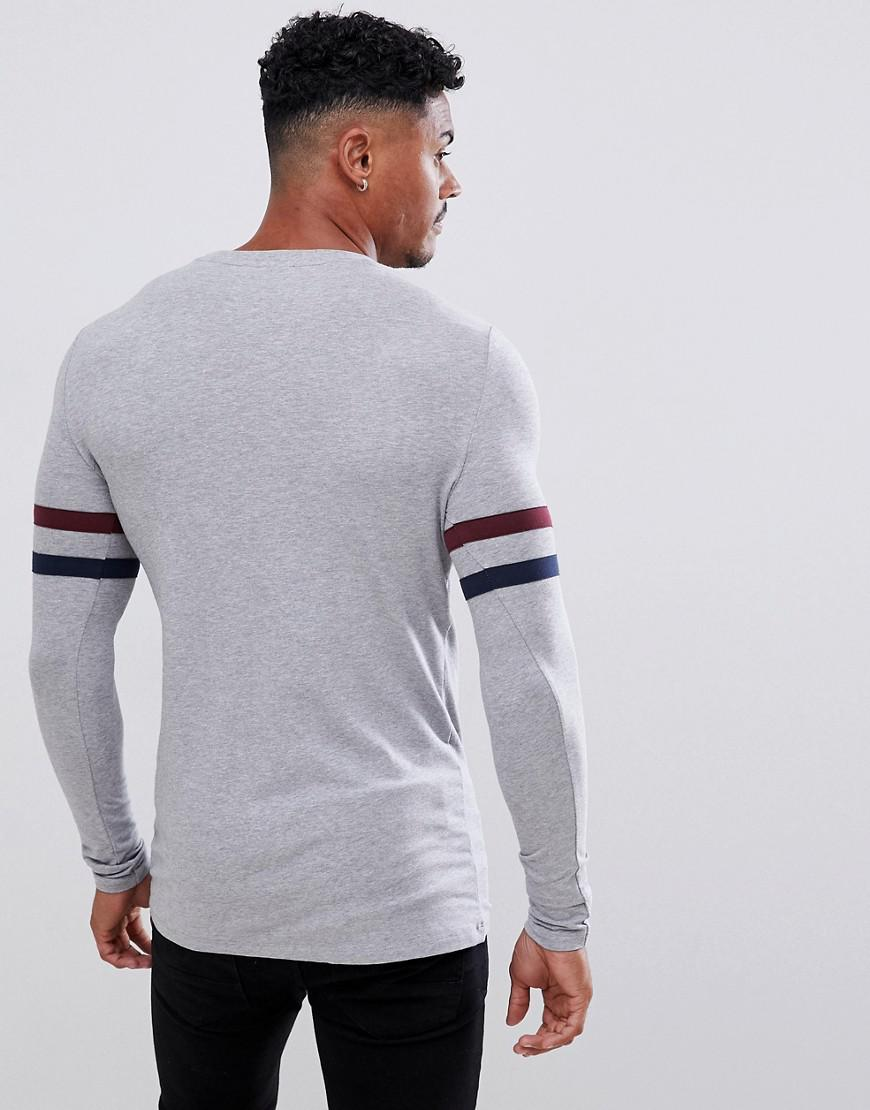 52a0664c95ba ASOS Organic Muscle Longline Long Sleeve T-shirt With Stretch And Contrast  Sleeve Stripe In Gray Marl in Gray for Men - Lyst