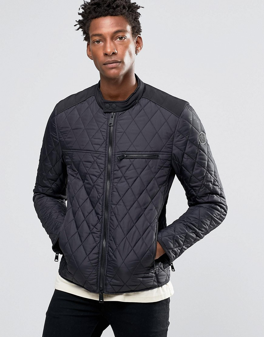 lyst replay lightweight quilted nylon biker jacket in