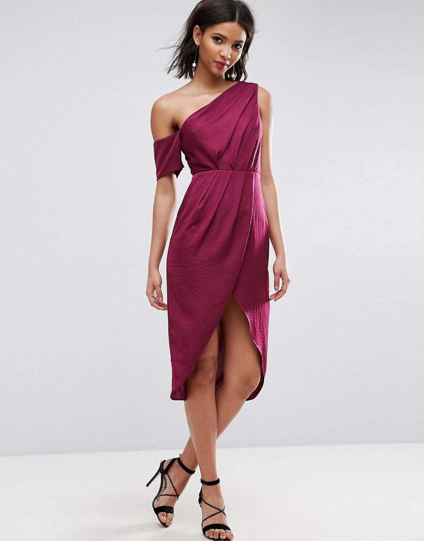 e2af4cc9e5 Lyst - ASOS Asos Hammered Satin Pencil Midi Dress in Red