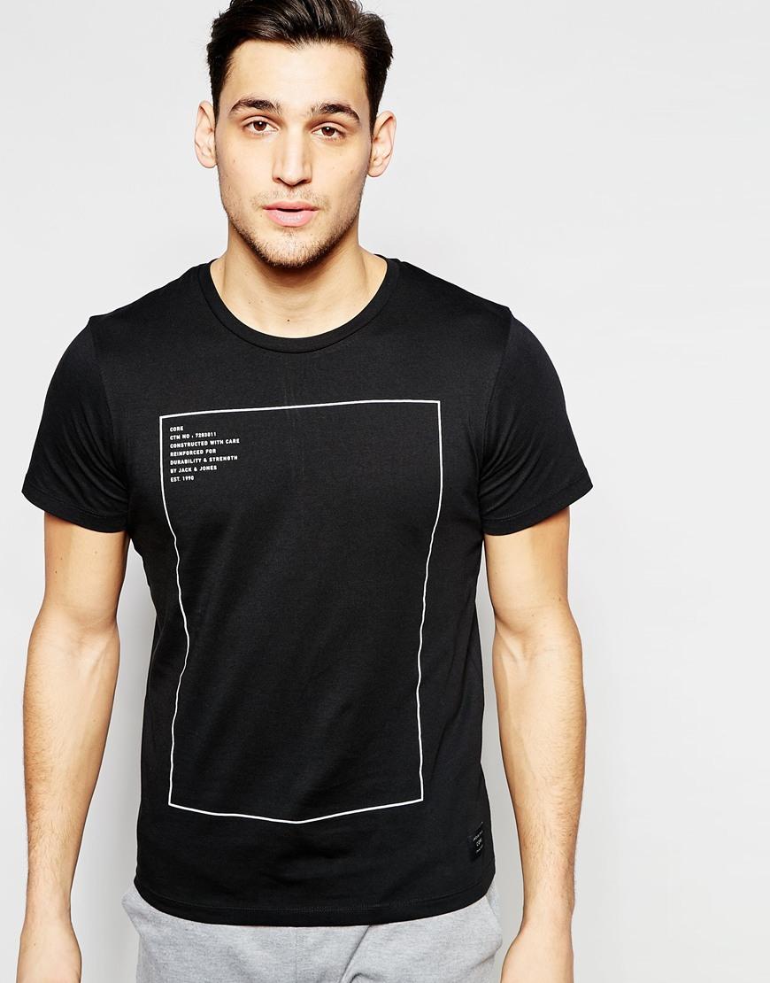 jack jones t shirt with square print in black for men lyst. Black Bedroom Furniture Sets. Home Design Ideas