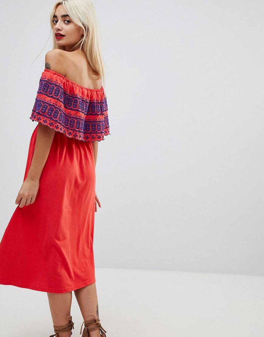 c62c63f418 Asos Off Shoulder Midi Sundress With Broderie Frill in Red - Lyst