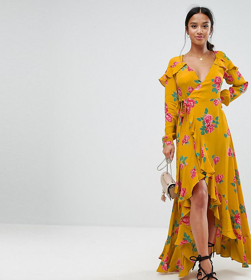793aeb955ec11 ASOS Long Sleeve Wrap Maxi Dress In Bold Floral in Yellow - Lyst