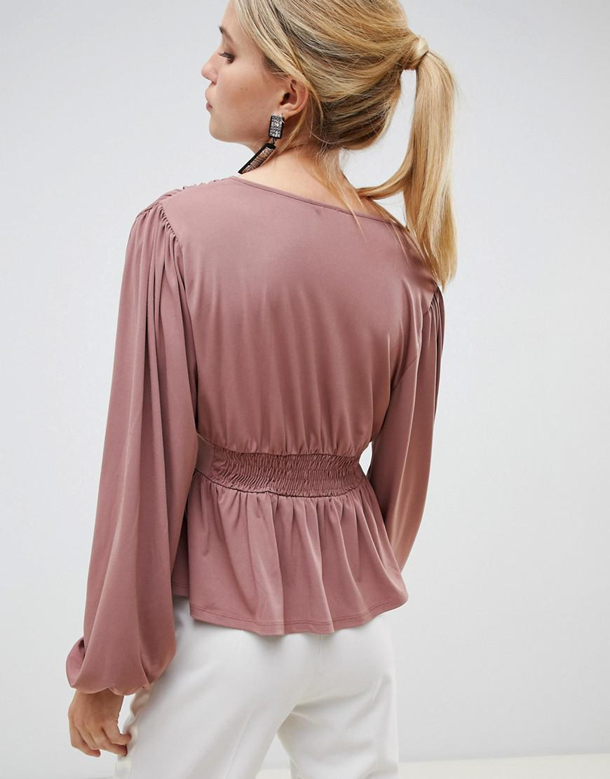a73b36974eaa0 ASOS Long Sleeve Top With Balloon Sleeve And Corset Waist in Pink - Lyst