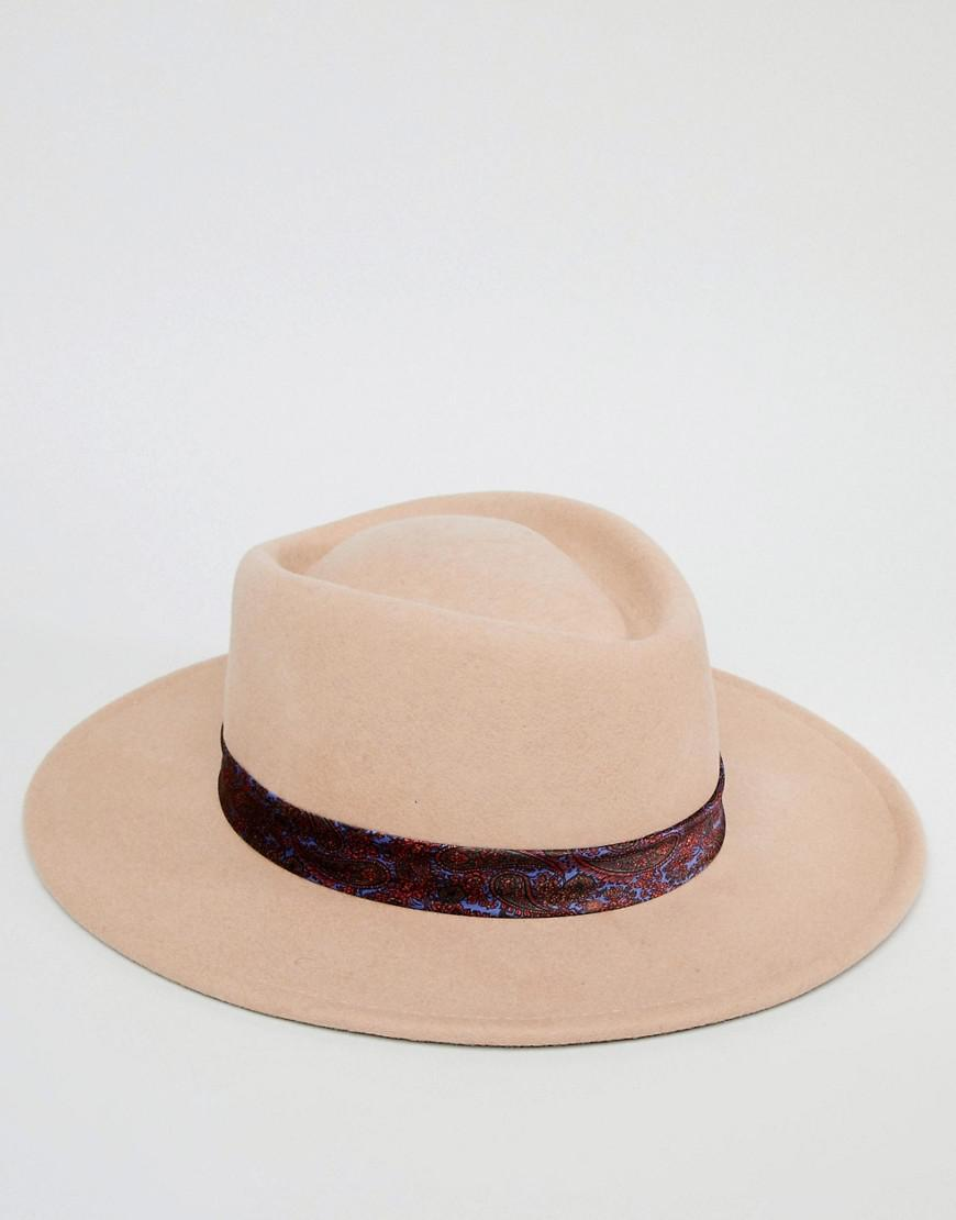 c6ba6258d ASOS Wide Brim Pork Pie Hat In Camel With Paisley Band for Men - Lyst