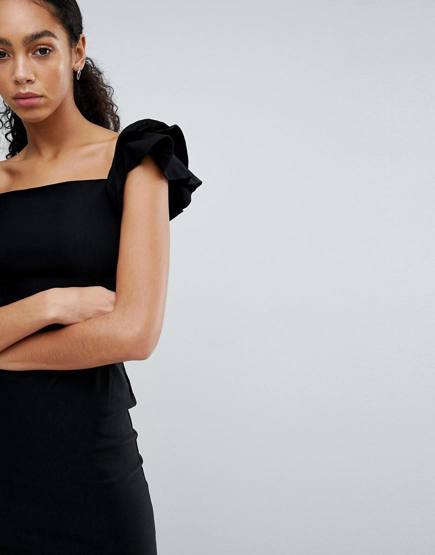 Pencil Dress With Origami Ruffle Sleeve - Black Vesper Buy Cheap Original Good Selling 6WAQ09