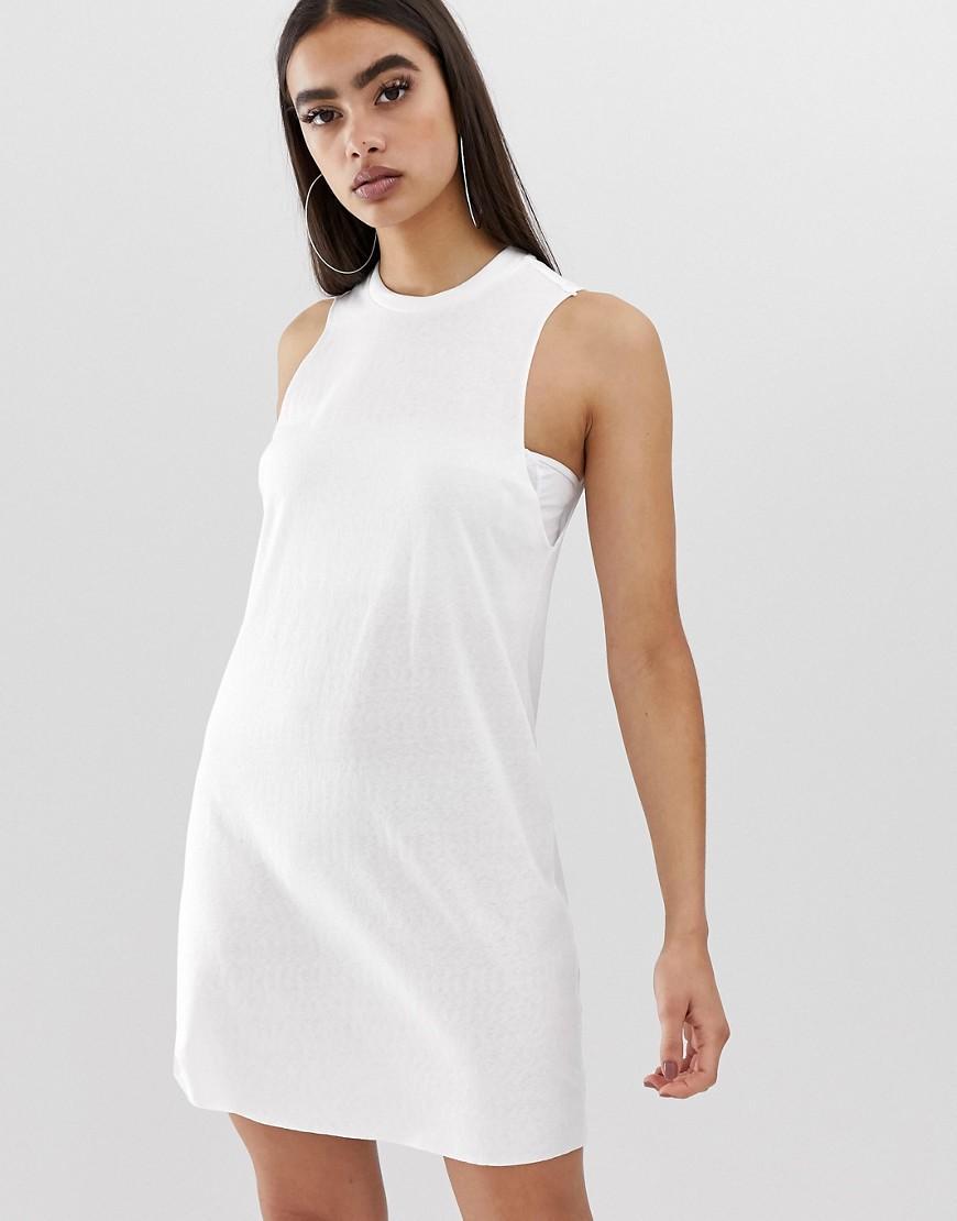 7948095ad9e6 Lyst - ASOS Slub Tank Dress in White