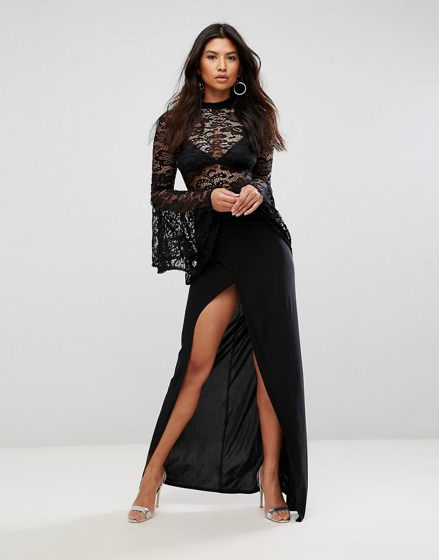 e169db2834 Club L Lace Flute Sleeve High Neck Maxi Dress With Wrap Front Skirt ...