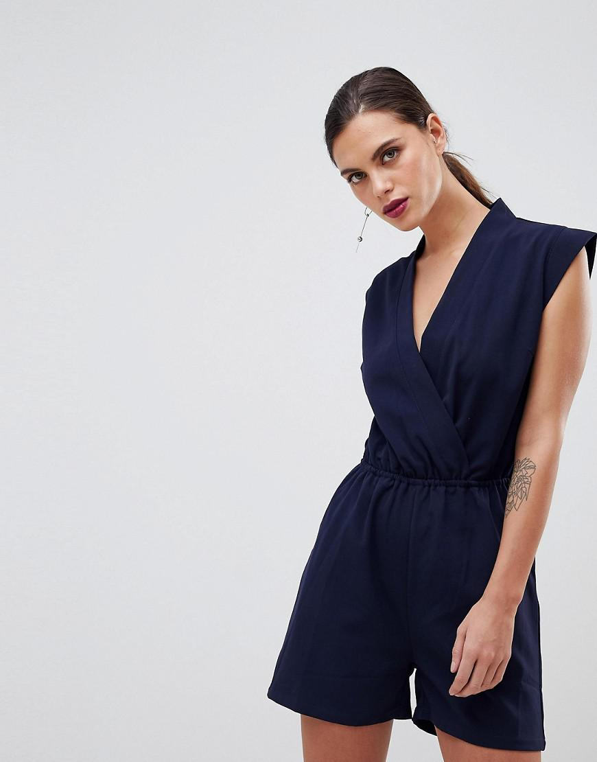 fc7794763ebf Lyst - Y.A.S Tailored Wrap Playsuit in Blue