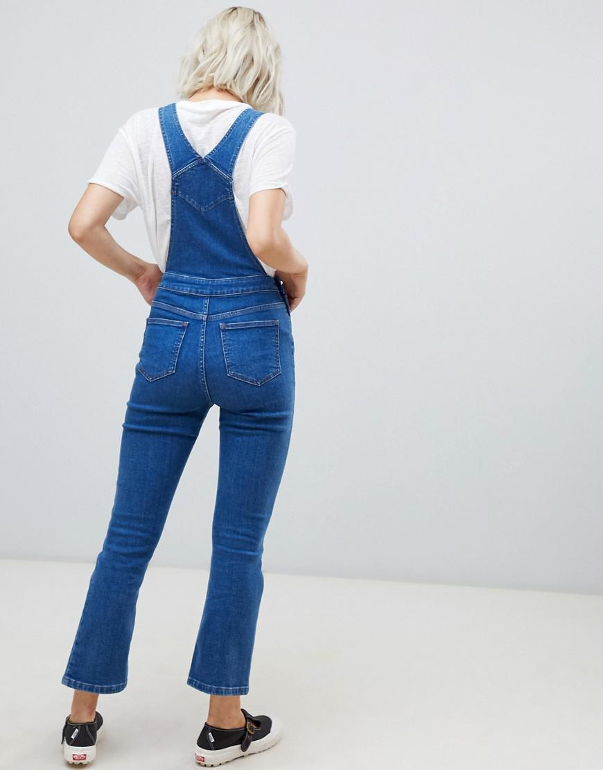 c1295830a6 Lyst - ASOS Denim Dungaree With Kickflare In Midwash Blue in Blue