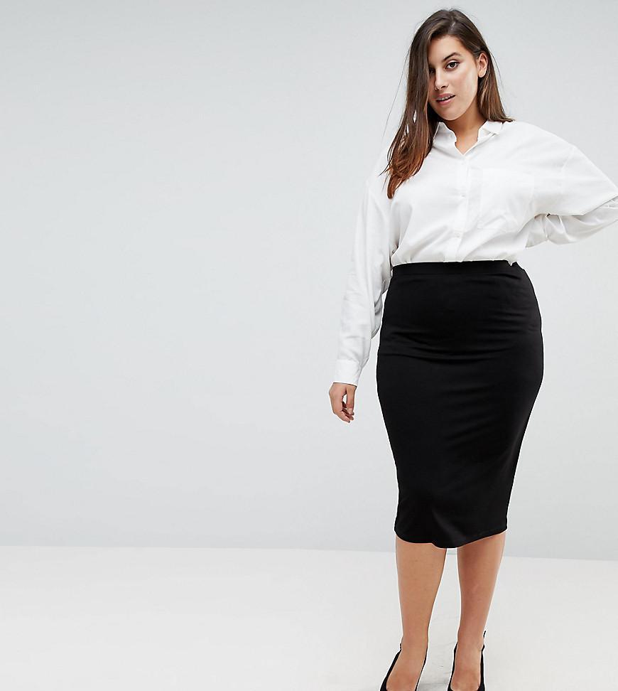 21fda6823 Lyst - ASOS Asos Design Curve Jersey Pencil Skirt in Black
