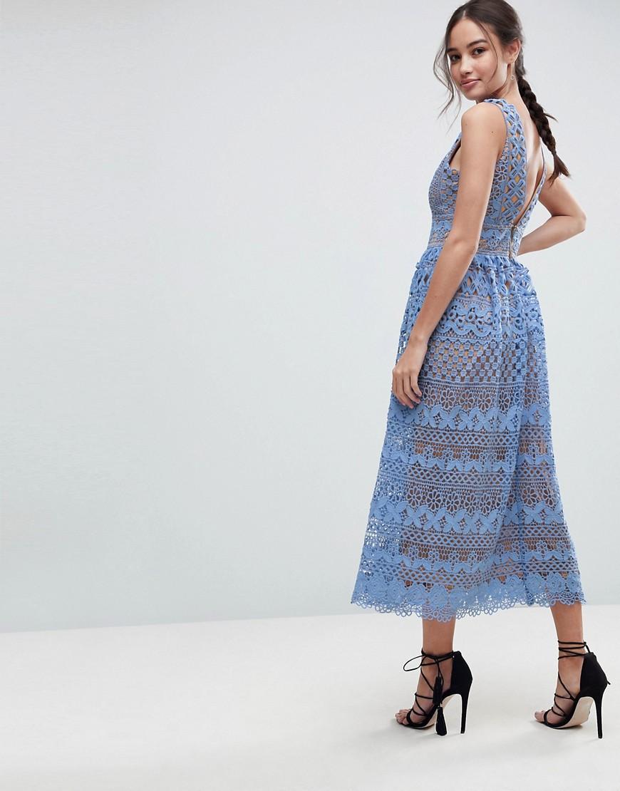 90606de640adb Boohoo Exclusive Lace Midi Dress in Blue - Lyst