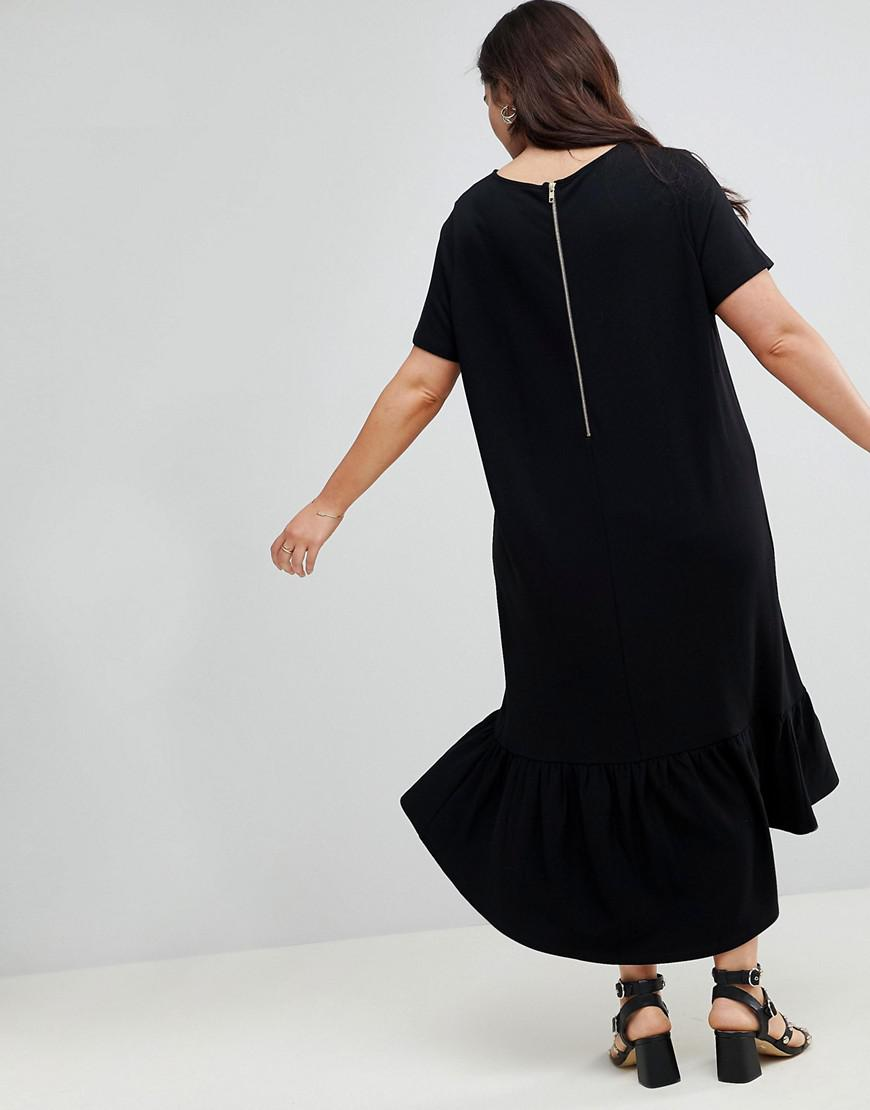 85d15006325 ASOS Asos Design Curve Midi T-shirt Dress With Drop Hem in Black - Lyst