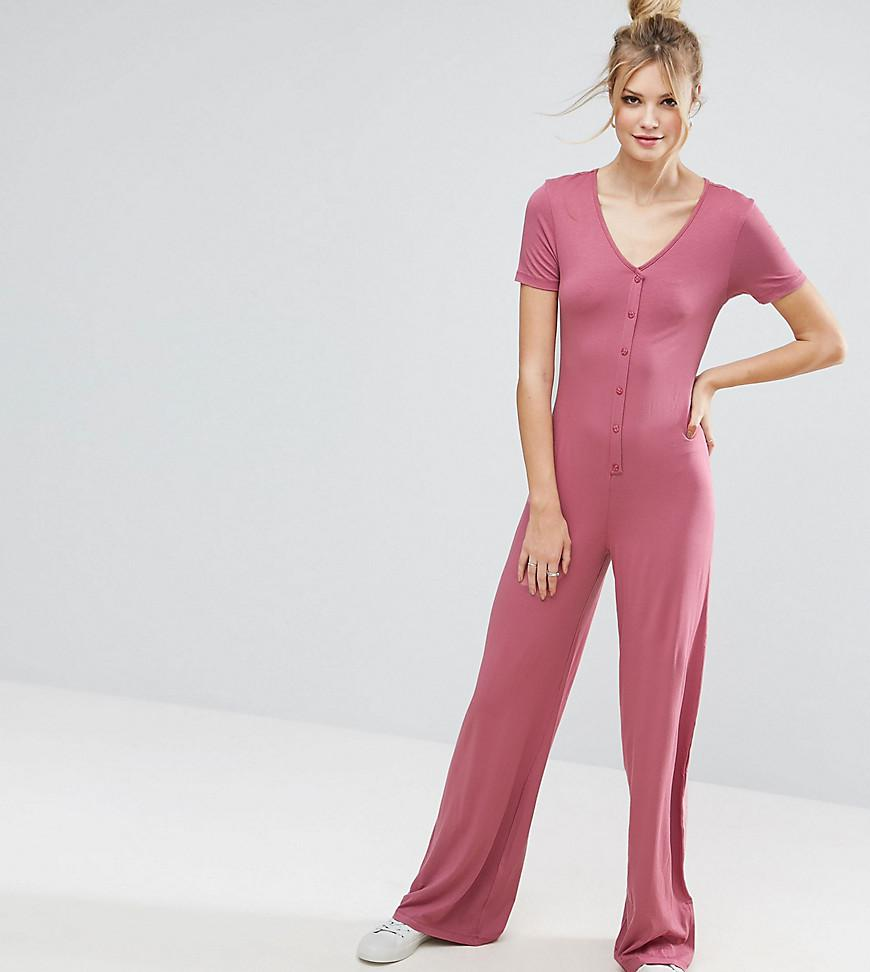 998ac72502a1 Lyst - ASOS Button Detail Wide Leg Jumpsuit in Pink
