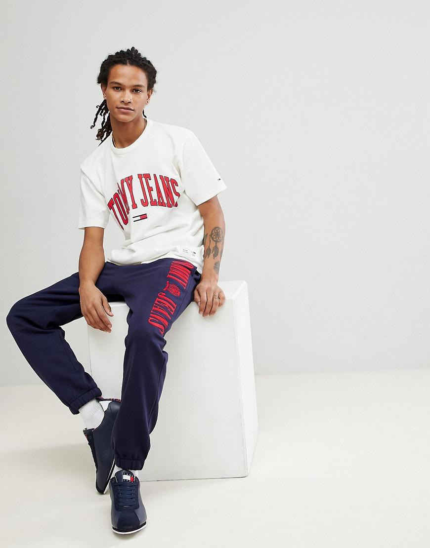 ec841a665 Tommy Jeans Collegiate Capsule T Shirt In White - Aztec Stone and ...