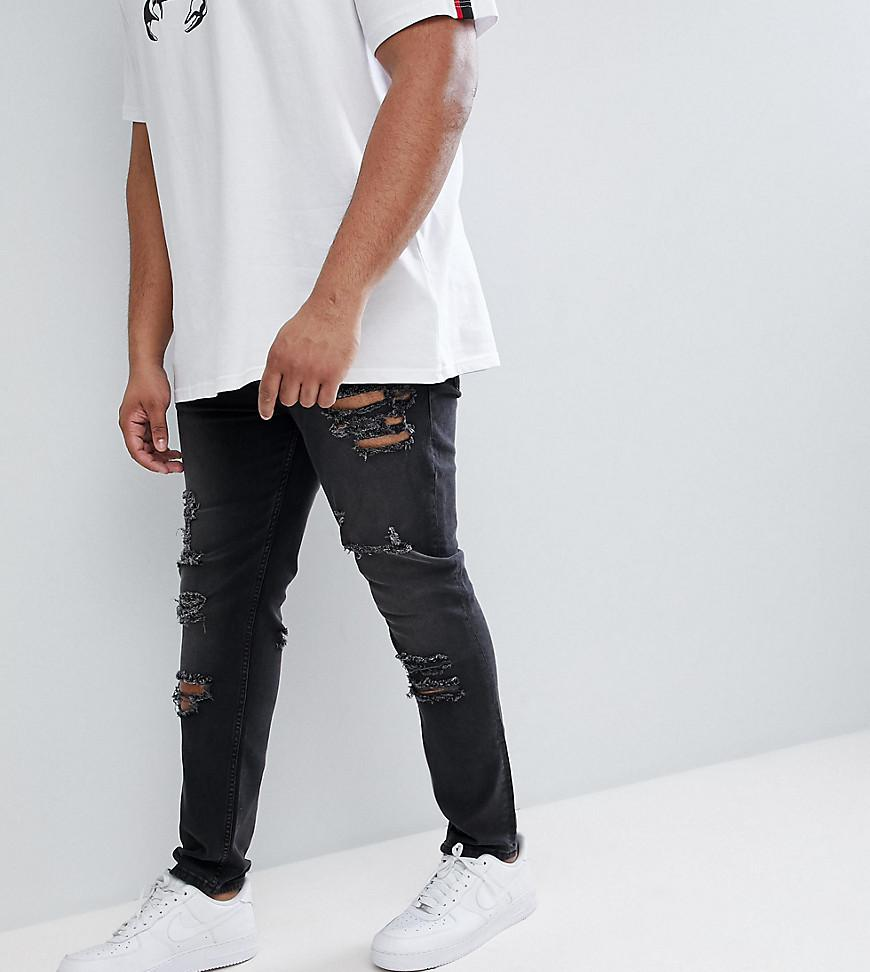 95563b6f115 Asos Design Plus Skinny Jeans In 12.5oz With Mega Rips In Washed ...