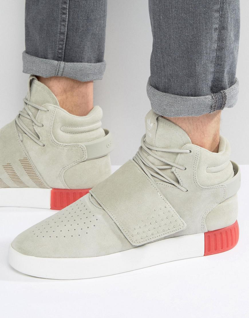 55363ba37f613 adidas Originals Tubular Invader Strap Trainers In Beige Bb5035 in ...